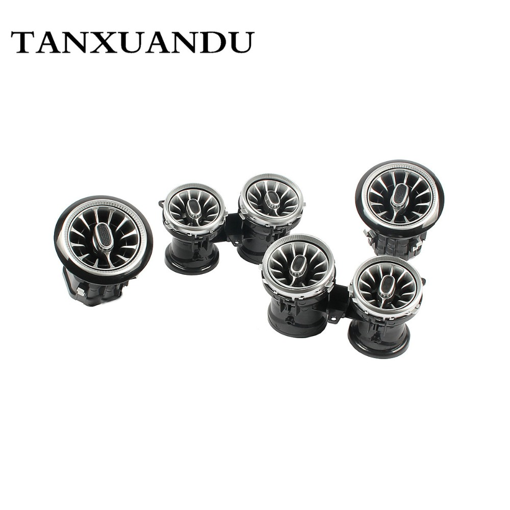Turbine Rotate Chrome Plating Piano Paint AC Dashboard Air Vent Set Fit For BENZ E Class