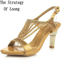 Gold Color Thin High Heels Open The Toe Women Sandals Peep Toe Crystal Big Size Women