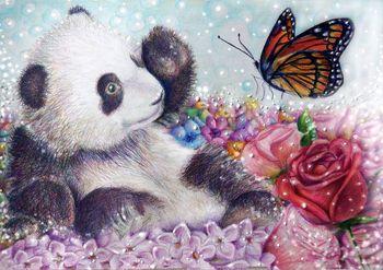 Diy diament malarstwo Cross Stitch dekoracja domu pełne Rhinestone naklejki ścienne haft robótki Panda i czerwona róża