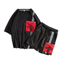 M-XXXL 2019 two piece set top and pants casual mens short sets summer clothes for men tracksuit men sweat pants sets