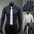 2014 New Brand Spring & Autumn Casual Solid Color Mens Dress Shirts Slim Fit Long-sleeve Fashion Clothes for Men M-XXL