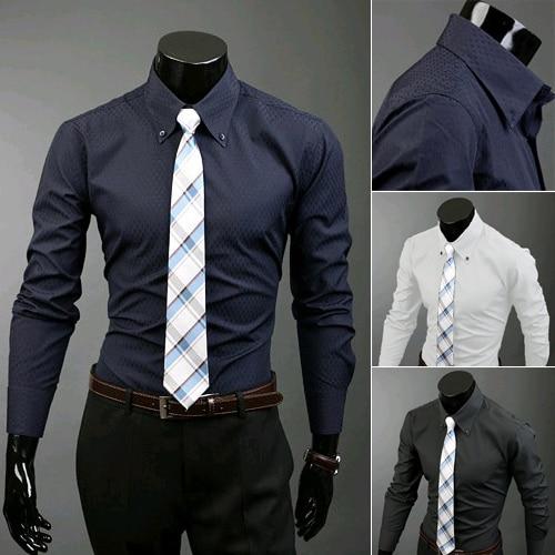 2014 nieuwe merk lente & herfst casual effen kleur heren overhemden slim fit lange mouwen mode kleding voor mannen M-XXL