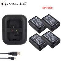 4Pcs 2000mAh NP FW50 NP FW50 Battery AKKU Dual Charger For Sony Alpha A6500 A6300 A7