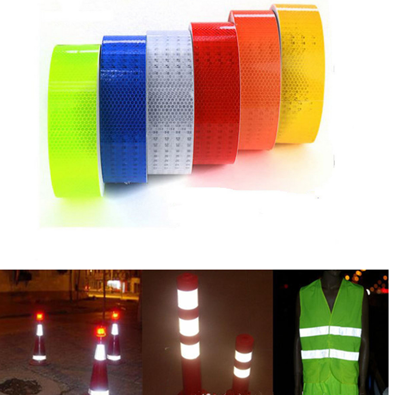 Safety warning tape car diy styling fluorescent reflective sticker 5cm 100cm automobile luminous strip car motorcycle