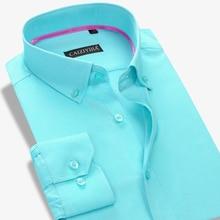 2016 Famous Brand Oxford Men Long Sleeve Shirt Casual Slim Fit Cotton Fashion Boss Formal Business Designer Dress Shirt Social