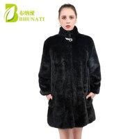 BHUNATI 2018 Winter Thick Warm Women Faux Fur Coat Mandarin Collar Artificial Fur Coat Faux mink Fur Ladies Coats Female