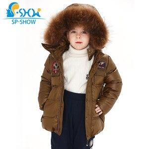 Image 3 - 2019 SP SHOW Çocuklar Kış Erkek Ve Kız Marka Kapüşonlu Ceket Rüzgar Geçirmez Siut Kalın Sıcak Polar Ceket + Pantolon Iki parça 04