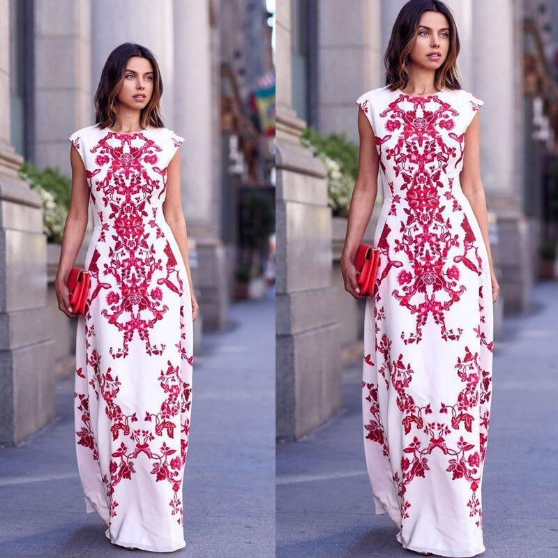 2018 Latest Style Summer Women's Elegant Floral Embroidery Sleeveless Boho Long Maxi Evening Party Vintage Dress Beach Wear