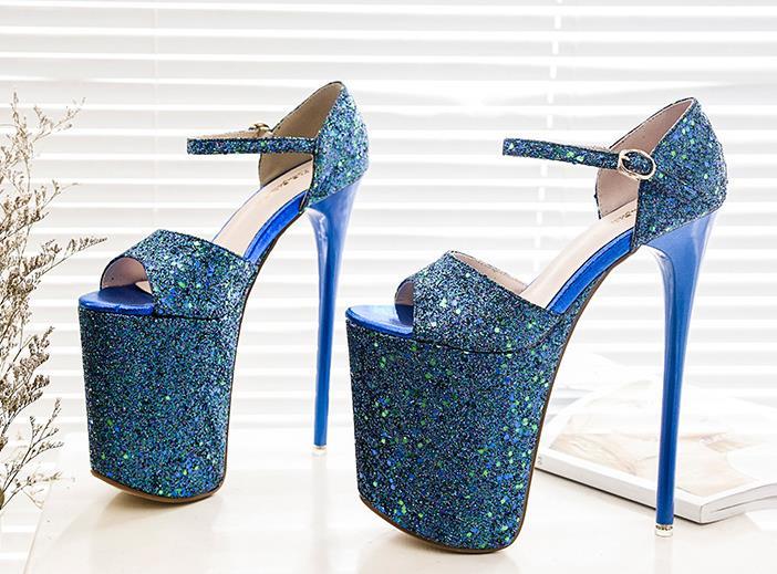 grey Haute Talons Cm Plate Sandalias forme Blue Glitter Femmes Bleu 19 D'été Sandales Chaussures Toe En Cuir Stiletto Peep qnA4fqWc