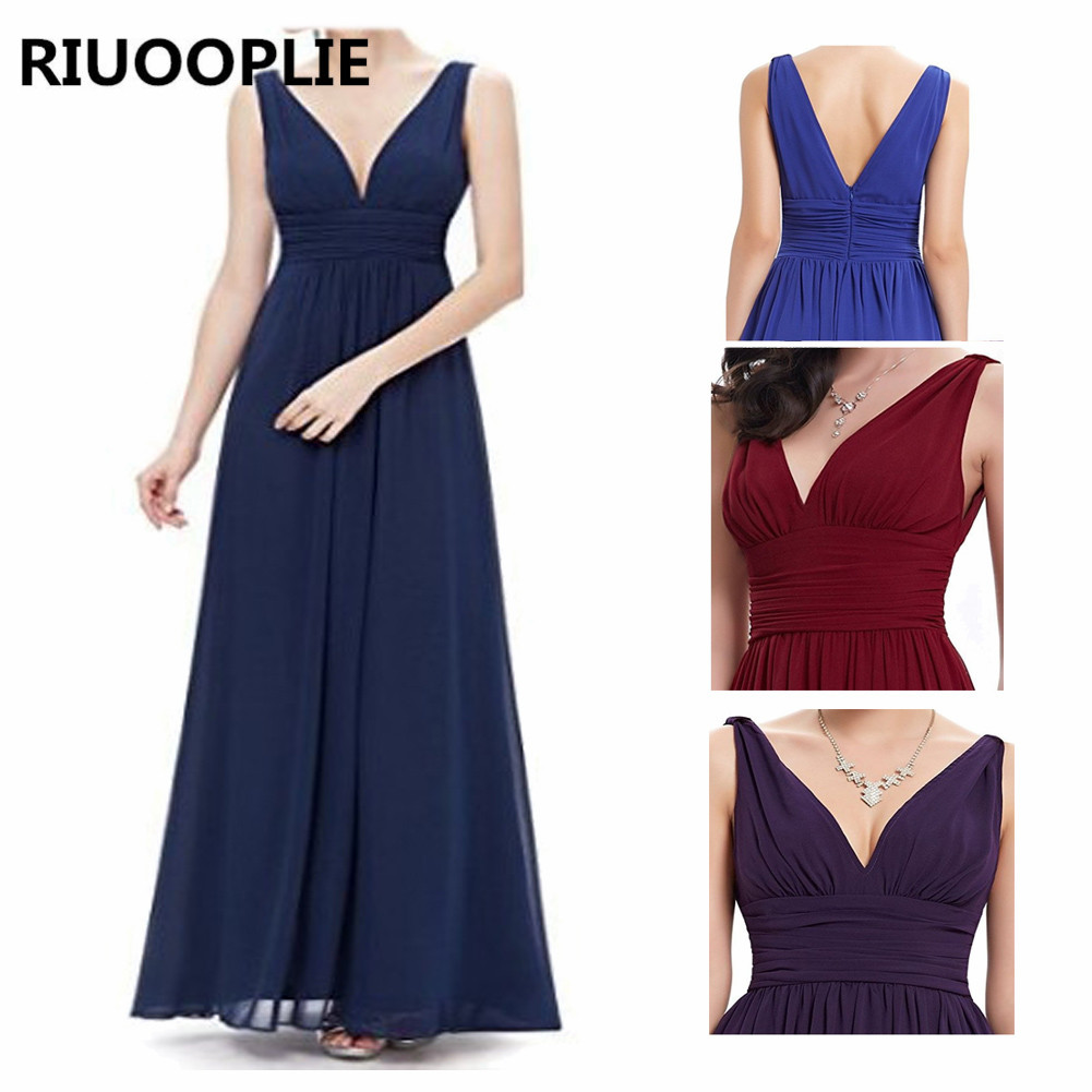 RIUOOPLIE Summer Women's Chifon Deep V Pretty Dresses Solid Color Evening Long Dress
