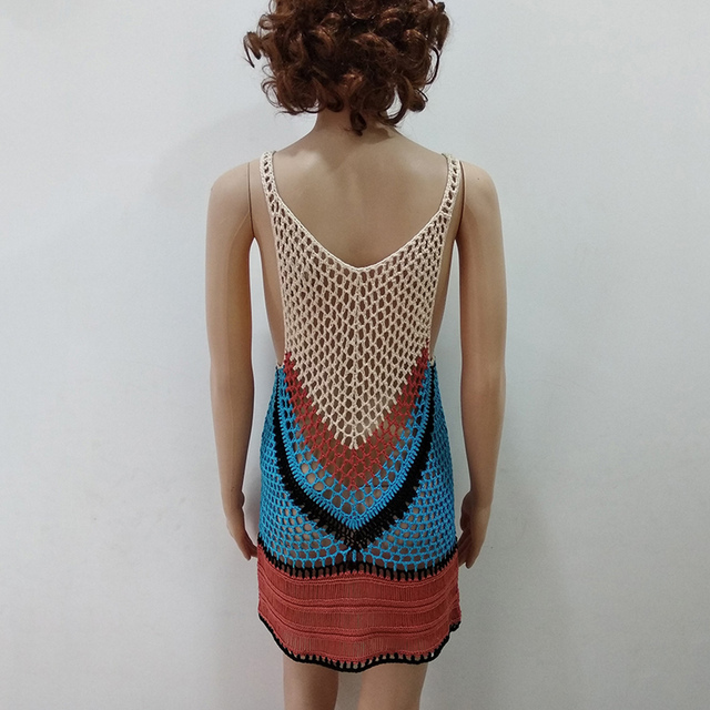 2018 New Beach Cover-Up Bikini Crochet Knit Swimwear Summer Beach Clothing Hollow Swimsuit Cover Up Beach Wear Clothes 5