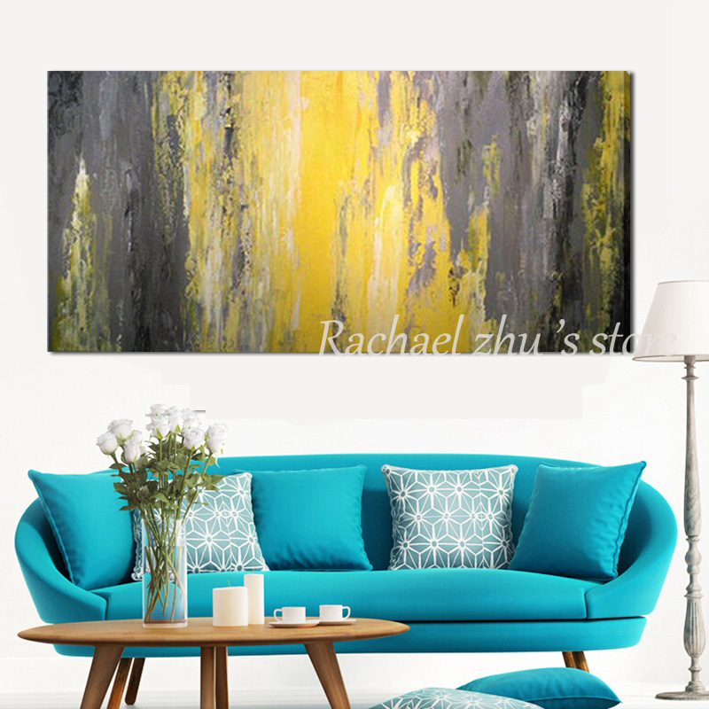 Купить с кэшбэком Hand Painted Modern Abstract Textured Thick Oil Painting on Canvas Yellow Grey Abstract Wall Pictures For Living Room Home Decor