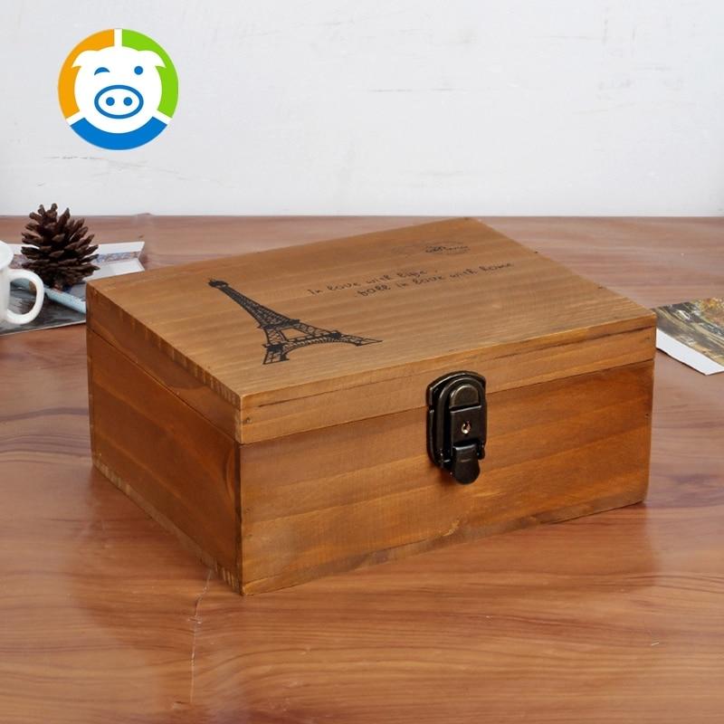 zakka japanese storage box single grocery old wooden eiffel tower lockable storage box finishing debris storage