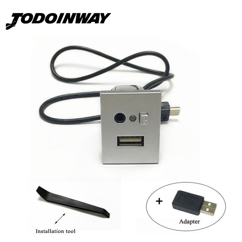 Black & silver USB/AUX input adattatore mini cavo USB slot di interfaccia pulsante accessori per ford focus 2 mk2 2009 2010 2011