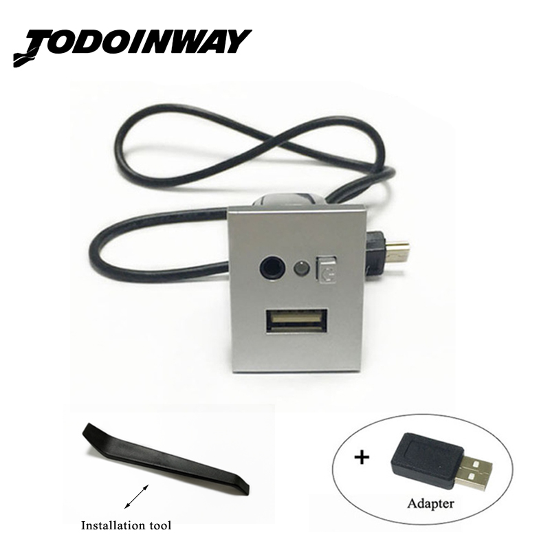 Black & Silver USB/AUX Input Adapter Mini Cable USB Slot Interface Button Accessories For Ford Focus 2 Mk2 2009 2010 2011