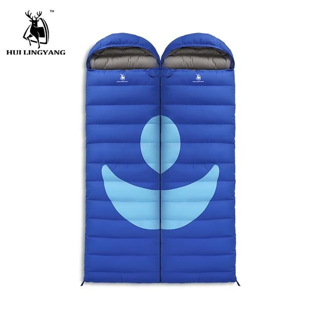 Winter Camping Sleeping Bag Portable Ultra-light Envelope Down Sleeping Bag Camping Travel 1500G white duck Splicing Design