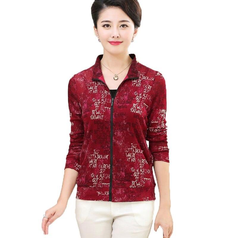 Femmes décontracté Zipper Top 100% Pure soie tricot maille Pure imprimé Cardigan à manches longues haut Outwear taille L XL XXL XXXL - 2