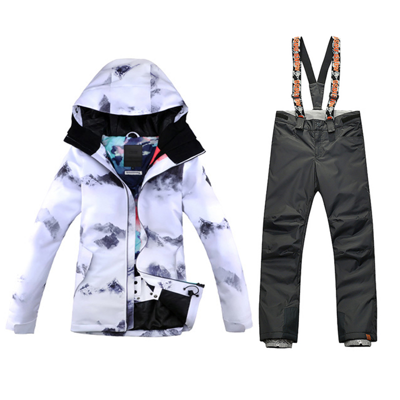 GSOU SNOW Ski Suit Female Winter Ski Jacket+Pants Womens Snowboarding Suits Super Waterproof Breathable send DHL 3-7days