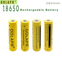 New 9Pcs/lot OOLAPR Yellow 2600mAh 18650 3.7V  rechargeable battery 18650 Lithium li-ion battery Free shipping