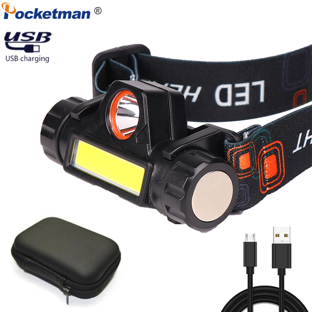 New USB Rechargeable Headlight Powerful XPE+COB Headlamp Head Torch IPX6 Waterproof Head Light With 1200mAn Built-in Battery