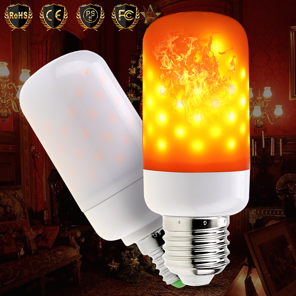 E26 LED Flame Lamps E27 LED Flame Effect Fire Light Bulb Candle E14 Two Modes Christmas Simulated Flame flicker Decorative Lamp