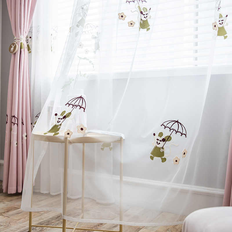 Korean Sweet Pink Embroidered Cartoon Mouse Sheer Curtains for Living Room High Precision Blackout Kid's Bedroom Curtain MY100-4