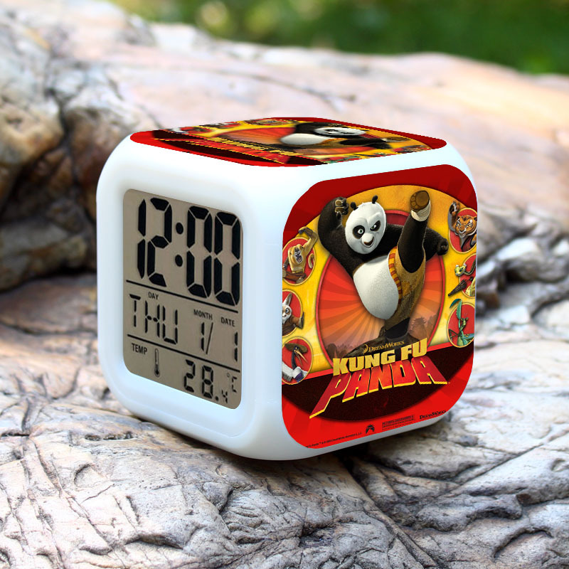 SAINTGI Kung Fu Panda 3 Po Mei Li Shan Tigress Monkey Viper Crane Alarm Clock Colorful PVC 8cm Calendar Thermometer Digital Led