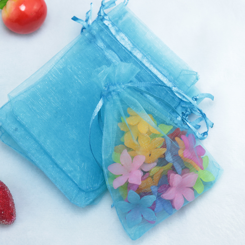 Whole 500pcs Lot Drawable Lake Blue Organza Bag 5x7cm Mini Wedding Favor Christmas Gift Jewelry Packaging Bags Pouches In Wring