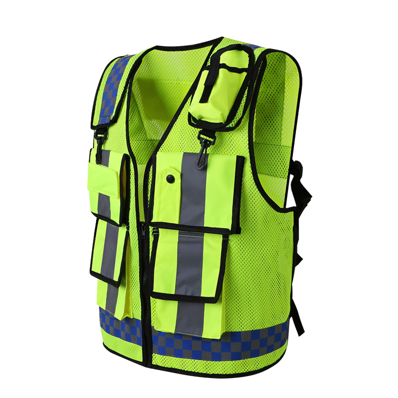 Reflective Vest High Visibility Warning Safety Vest Fluorescent Clothing Multi pockets Security guard traffic Reflection Clothes