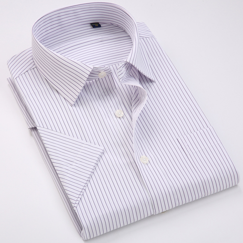 Men's Regular-fit Summer Short Sleeve Solid Classic Shirt Single Patch Pocket Formal Business Work Office Basic Dress Shirts 10