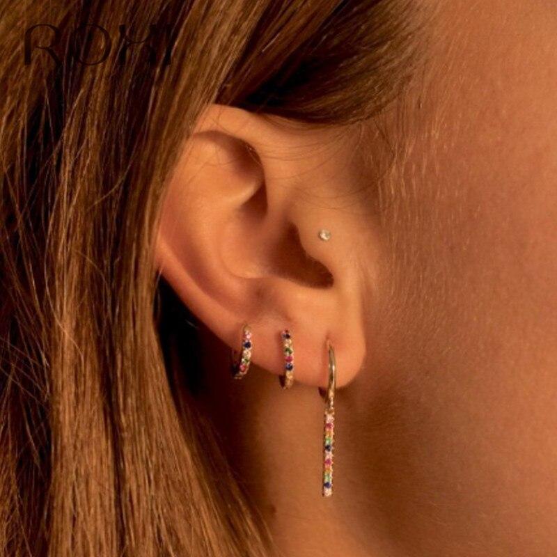 ROXI Fashion Korean Round Hoop Earrings Small Crystal Earrings For Women Minimalist Jewelry 925 Sterling Silver Huggie Earrings