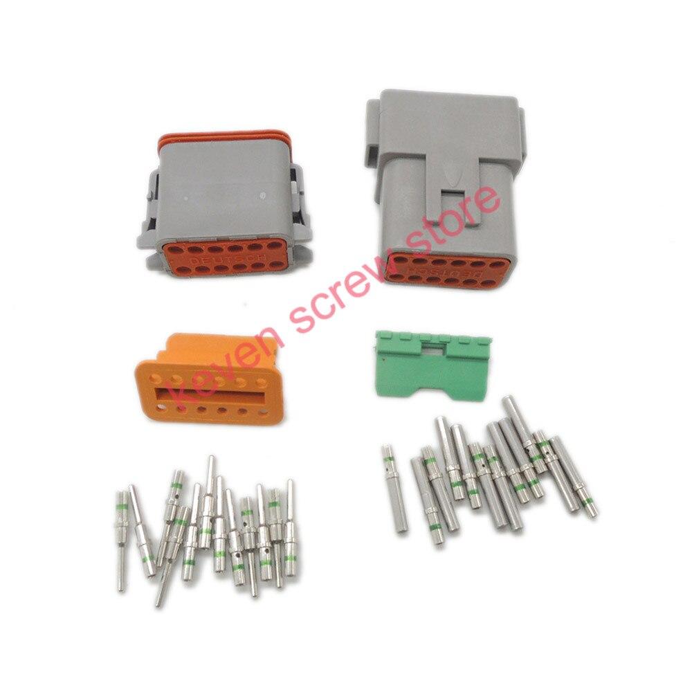 10 sets Kit Deutsch DT 12 Pin Waterproof Electrical Wire Connector plug Kit DT06-12S DT04-12P,14 GA