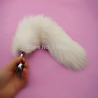 White Fox Tail Anal Butt Plug In Adult Games , Metal Anus Bead Stimulator , Fetish Sex Products Flirt Toys For Women