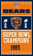 Chicago Bears  Super Bowl Champions Flag  Banner 100 D Polyester 3×5 FT flag brass grommets custom flag 001, free shipping