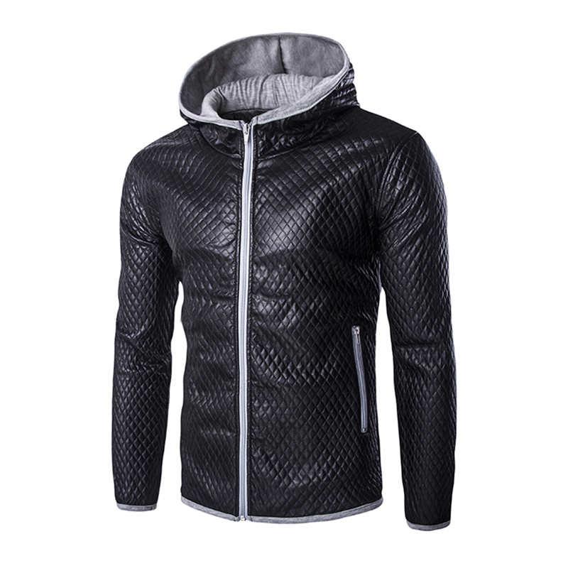 2017 Men Coats Jacket Faux Leather Jacket Gorgeous Hooded Coat Outwear Korean StyleTops 0984