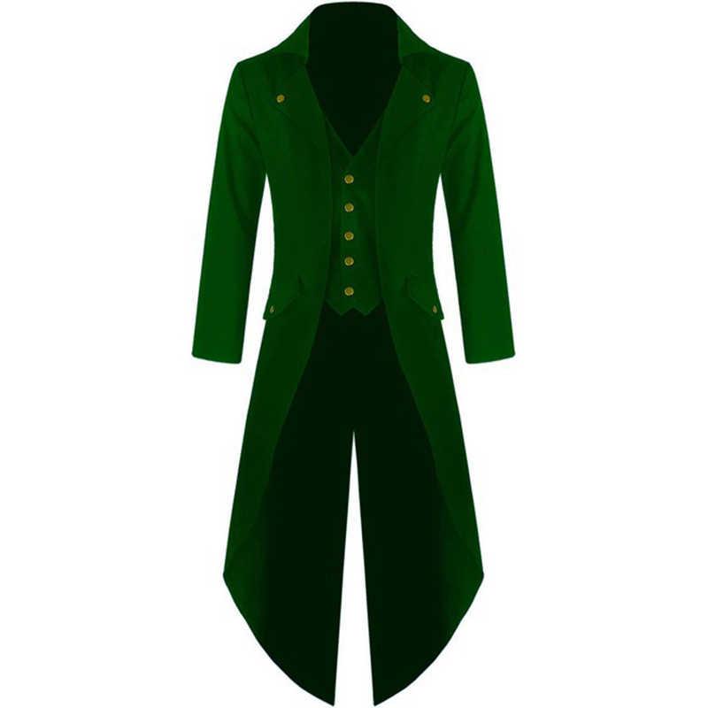 Gothic Blazers Jassen Mannelijke Zwaluwstaart Pak Bruiloft Pak Mode Slanke Punk Stijl Vintage Dress Party Plus Size S-4xl Zwart Groen