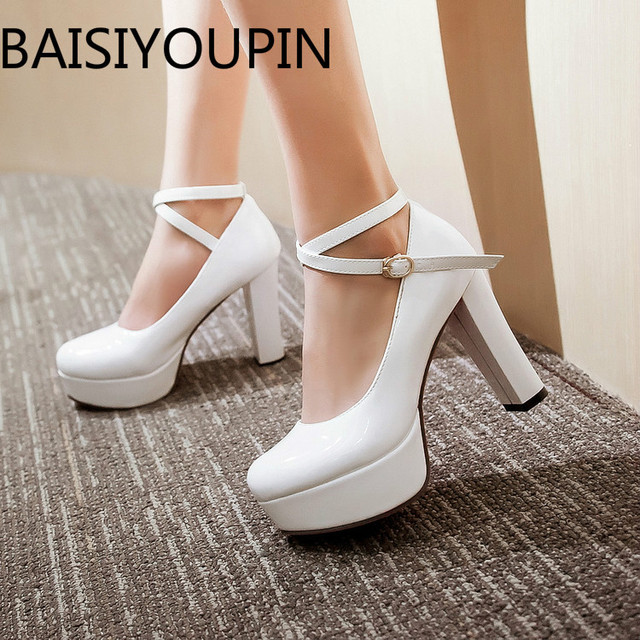 607084104560 Aliexpress.com   Buy Women Platform High Heel White Shoes Cross Strap  Buckle Patent Leather Shoes Sexy Red Bottom Single Shoe Women Shoes Big  Size 43 from ...