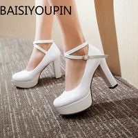 Women Platform High Heel White Shoes Cross Strap Buckle Patent Leather Shoes Sexy Red Bottom Single Shoe Women Shoes Big Size 43