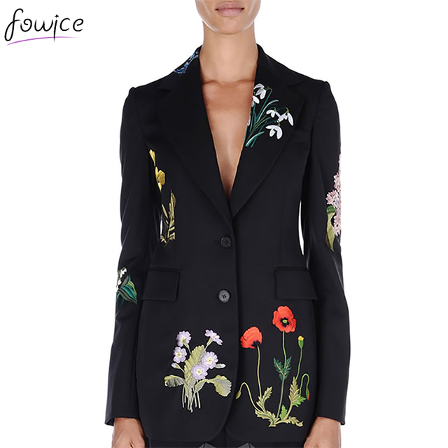 Embroidery Floral Bloom Black Long Women Blazers Casual Notched Single Breasted Slim Women Suit Long Jackets Working Wear  Top
