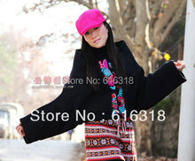 Multicolor Winter National Trend Women's Two-ways Embroidery Cloak Wadded Jacket Cotton-padded Jacket Short Design Clothing