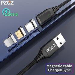 PZOZ Магнитный СВЕТОДИОДНЫЙ модуль панели управления Usb c кабель Быстрая зарядка кабель Microusb type c магнитное зарядное устройство для iphone 8 samsung S9...