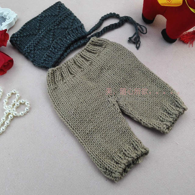 7c61cc33e1a45 US $18.98  Newborn Baby Boy Gentleman Photography Props Crochet Hat+Pants  Outfits Clothes Infant Baby Photo Shoot Birthday Picture Props-in Hats & ...