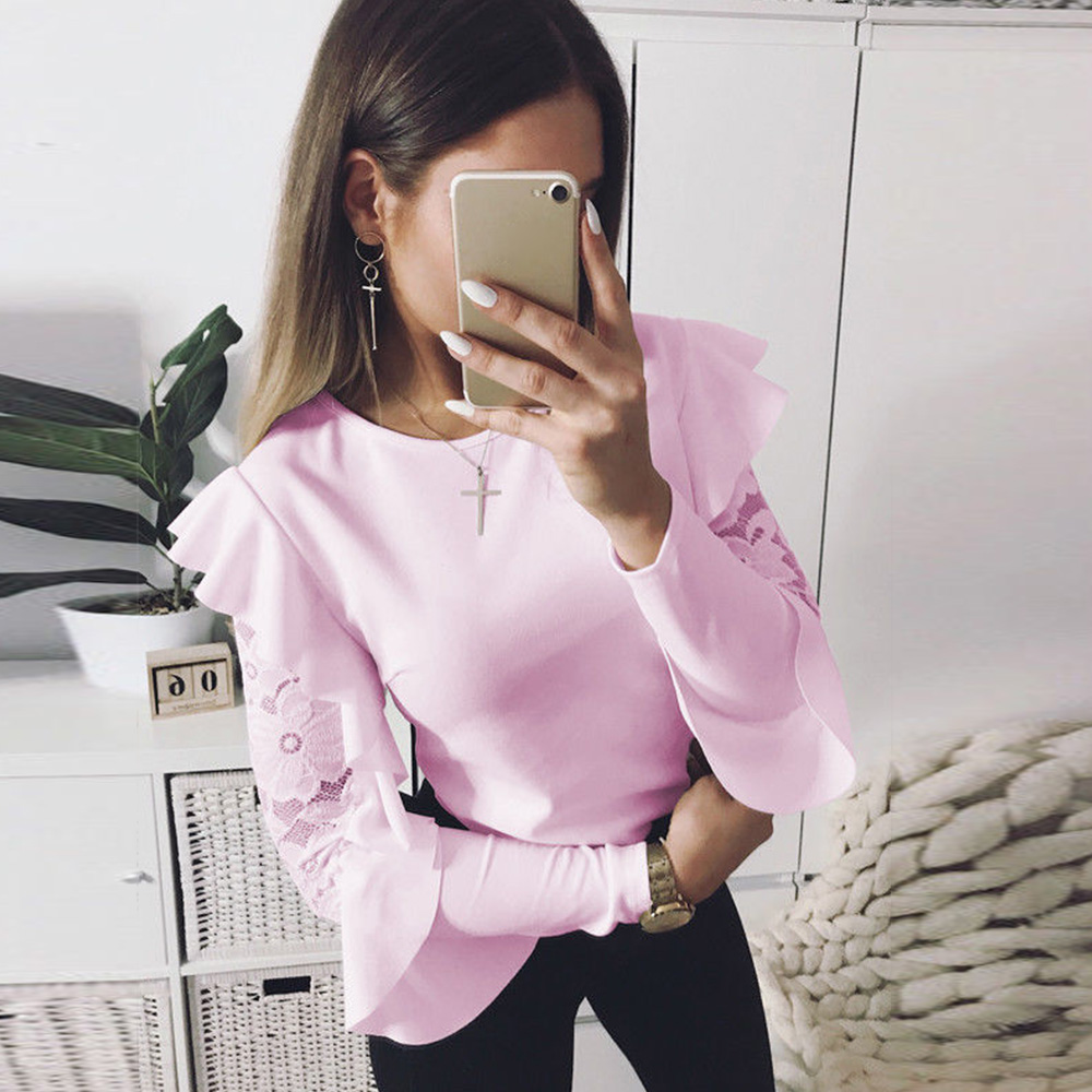 Women Lace Long Sleeve T-shirt Round Neck Casual Solid Loose Tops