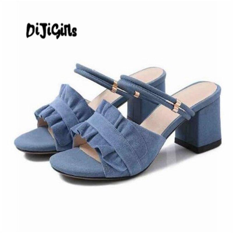 DIJIGIRLS vintage sandals women open toe outside slippers women thick high heel gladiator model daily wear summer mules L11 wwd women s wear daily 2012 11 26