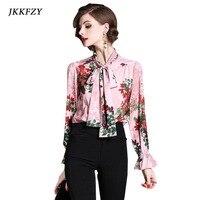 Women Bow Tie Print Shirt Spring Summer New Pink Fashion Primer Pagoda Sleeve Girl Top Elegant Office Clothes S M L XL XXL
