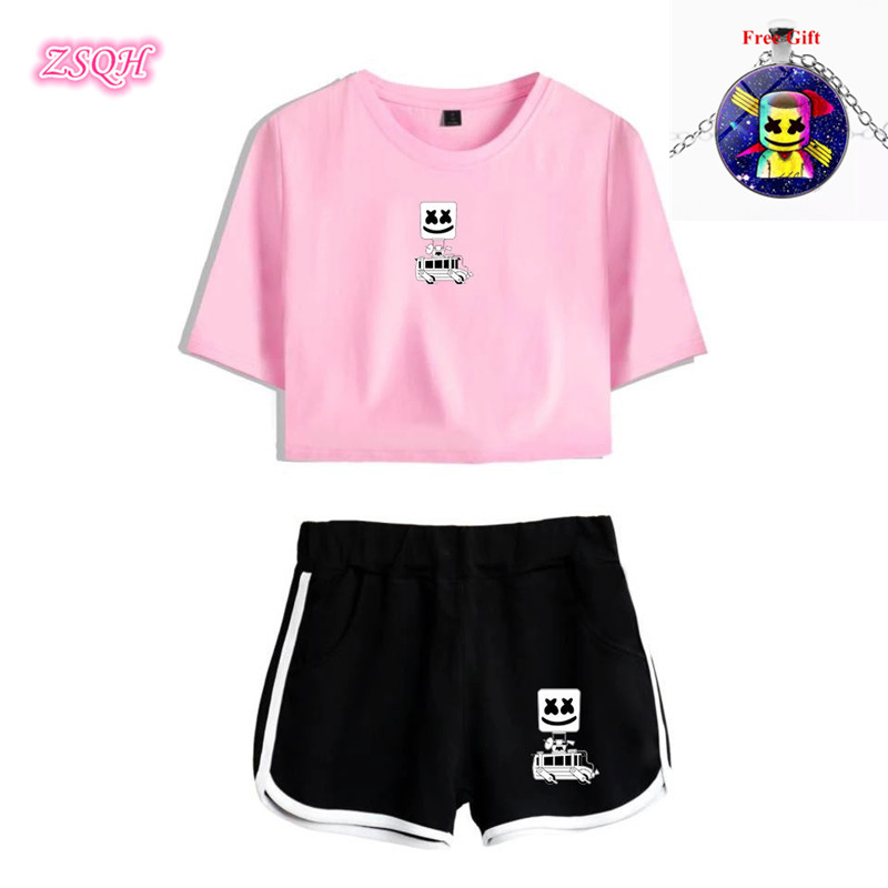 ZSQH DJ Marshmello T-Shirt Sexy Sets 8 Color DJ Marshmello Cosplay Costume For Women&Men Fashion Marshmallow Costume Girl