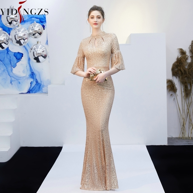 YIDINGZS Gold Sequins Evening Dress Hollow Out Elegant Mermaid Long Formal Party Dress 1