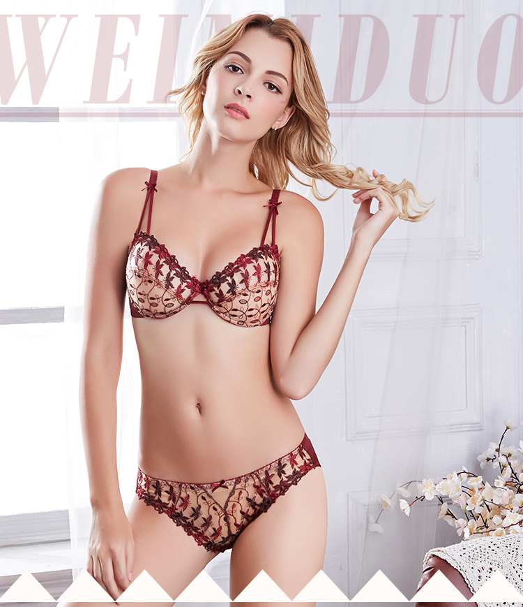 Sexy Transparent Lingerie Set Unlined Ultra thin bra and panty set with wires Butterfly embroidery Push up underwear women 95D