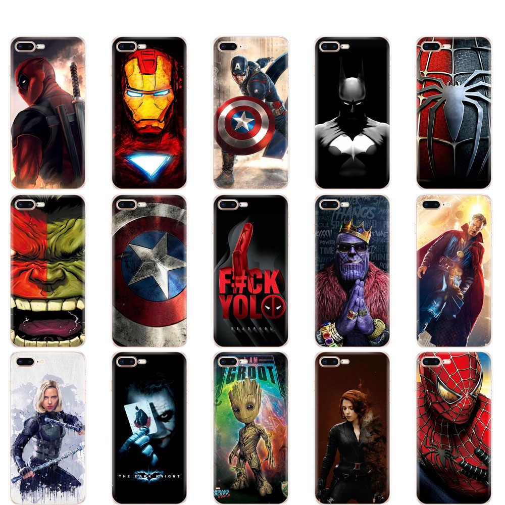 Trường hợp Đối Với iphone 5s SE 4 4 s 6 s 6 7 8 cộng với trường hợp đối với iphone X XS XR XS MAX trường hợp Marvel The Avengers Siêu Anh Hùng captain america ironman thanos