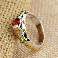 LOL Maters Jewelry Taric Ezreal Khada Jhin Ring With Stone Big Crystal Ring Heroes Theme Jewelry
